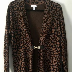 Leopard print Tunic. Black and Brown, Size L